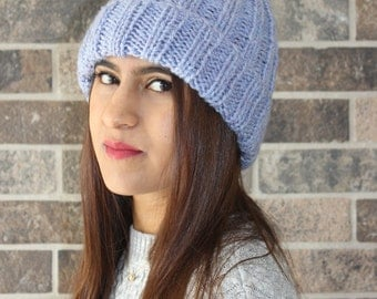 Lilac/Blue Ribbed Beanie