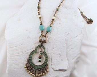 Verdigris Patina Brass Necklace, Teal Gypsy Necklace, Long Brass Chain Necklace, Brass Bead Fringe Necklace, Moroccan Necklace, Boho Pendant