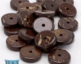 Polished Dark Coconut Wood Disk Beads--20 Pcs | 9-CO12-20