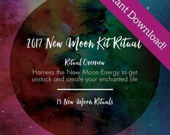 2017 New Moon Wishes - 12 New Moon Rituals for 2017 - Instant Download