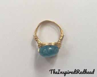 Blue Fluorite Wire Wrapped Ring