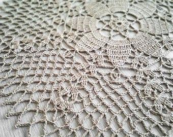 Crochet linen doily, linen table centerpiece, brown linen doily, big linen doily, large linen doily, lace table topper, rustic table decor