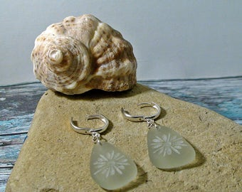Flower Seaglass Earrings Beach Earrings Bohemian Earrings Flower Jewelry Sea Glass Jewelry Natural Lovers Gift