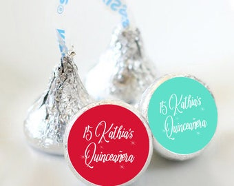 108 Quinceañera Hershey Kiss® Stickers - Hershey Kiss Stickers Birthday - Personalized Hershey Kiss Labels - Birthday Hershey Kiss Seals