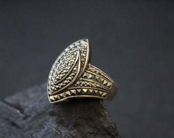 Unique Sterling Silver Pave Marcasite Art Deco Ring