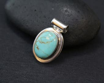 Sterling Oval Turquoise Pendant, Turquoise Jewelry, Modern Turquoise Pendant, Southwestern Style, Oval Sterling Slide Pendant