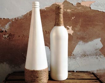 Set of Two Upcycled Wine Bottle Vases ~ Hessian Twine Wrapped and White Painted Vases