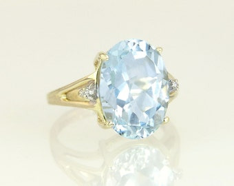 Estate 10K Yellow Gold 6.32ct Genuine Diamond & Blue Topaz Dinner Ring 3.4g