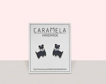 Miniature Schnauzer dog Stud Earrings Animal stud Animals earring Dog earrings Dog stud earrings Schnauzer Pet earrings