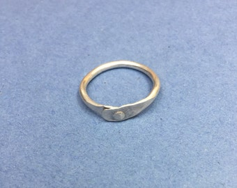 Handmade rivet ring, Sterling silver riveted ring. Size P.5 (P and a half) UK, size 7 3/4 US. Textured ring, silver rivet ring