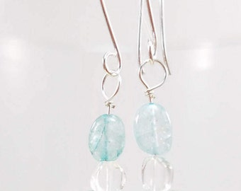 Aquamarine & Apatite  earrings on handmade Argentium ear wires