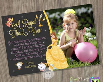Princess Belle Thank You Card, Beauty and the beast Card, Princess Belle Birthday, disney princess Thank you card, Princess birthday Card