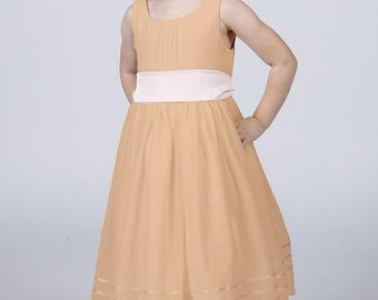 Matchimony Rose Gold Flowergirl Dress with Complimentary Sash available in all Matchimony colours
