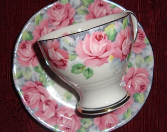 Rose of Sharon by Royal Standard - Fine Bone China England - Vintage Demitasse Tea Cup and Saucer - Pink Roses with Gold Trim