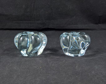 Vintage glass candle holders made in Sweden Swedish glass mid century glass icy blue votive candle holders icy blue ice