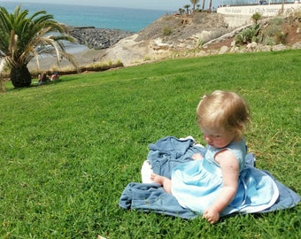 blue linen dress/ Baptism linen dress / Girls linen dress white and blue/ girl dress linen/ Handmade linen dress