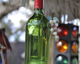 Hanging Green Wine Bottle Candle with Copper Trim and Faux Grapes and Wire Votive Holder with Votive