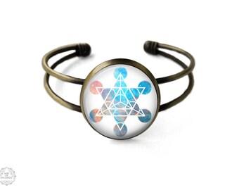 Star Tetrahedron Cuff Bracelet   Merkaba Bracelet Galaxy Bracelet Bangle Merkaba Star Sacred Geometry Boho Jewelry Platonic Solids Grunge