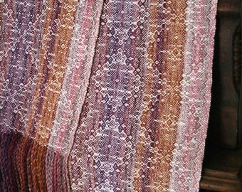 Unique handspun handwoven wool scarf
