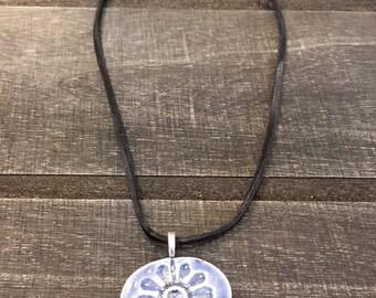 Flower Stoneware Pendant Necklace