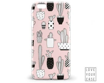 Pink and Black Cactus Drawing Phone Case iPhone 5/5S, 6/6S, 6+/6S+, 7/7+ Samsung Galaxy S5, S6, S6 Edge Plus, S7 Monogram Name