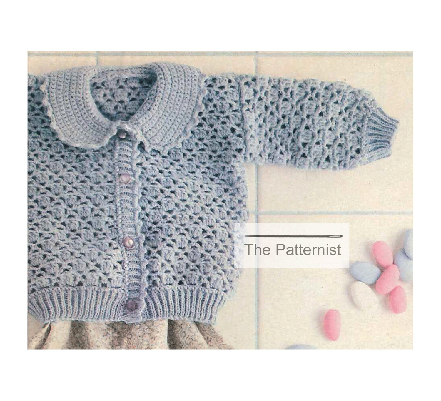 Crochet pattern baby shell stitch cardigan sweater peter pan zoom bankloansurffo Image collections