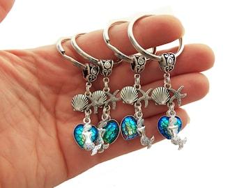 Mermaid party favors, mermaid birthday gift, beach keychain, mermaid key chain, mermaid scales, heart shaped mermaid scale, seashell keyring