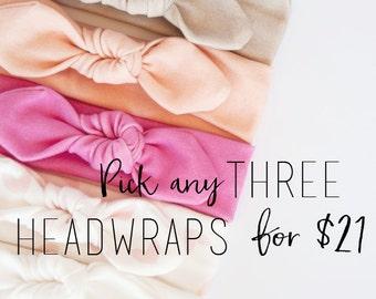 Baby Girl Knot Headband Set of Three - Organic Cotton Baby Headband - Baby Girl Headwrap - Toddler Turban - Infant Bow - Baby Girl Headband