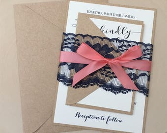 Rustic Wedding Invitation, Lace Wedding Invitation, Coral And Navy Blue  Invitation, Rustic Lace