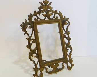 Antique Cast Iron Frame Swing Arm Ornate Gold Hollywood Regency 11 in Vintage Photo Picture Art Frame Victorian Easel Table Top
