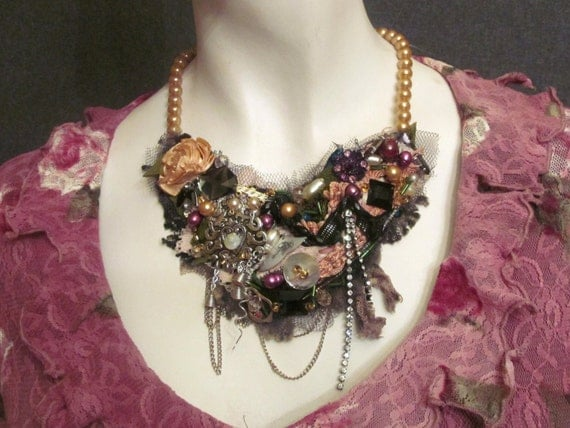 Embroidered and beaded necklace from antique, vintage textiles and ornaments.   Bohemian necklace. colour; rose, black, gold , silver,
