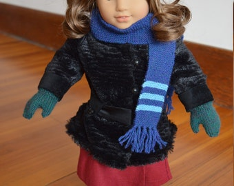 "Knit Hat, Scarf, and Mittens for 18"" Play dolls"