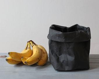 Black paper bag, washable paper, storage bag, basket, bin, pot, planter, Minimalist, Simple living, Green living, Rustic