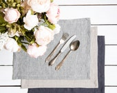 Natural Placemats set of 6 made of natural flax and softened - Choose your style