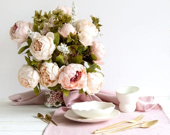 Blush Pink Runner - Table runner made of stone washed Linen