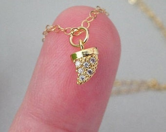 Tiny Shark Tooth necklace, Horn Gold Necklace, Dainty shark tooth pendant, Pavé, Chic cubic zirconia diamonds, gold layering necklace