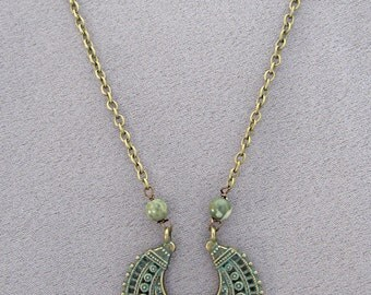 Brass Etched Necklace/Pendant/Patina/Blue-Green/Gift