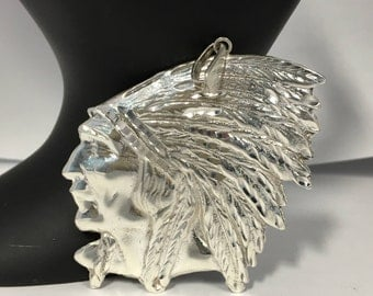 Large Indian Head Chief Sterling Silver Pendant, Silver American Indian Feather Headdress Vintage Indian Chief Head Pendant
