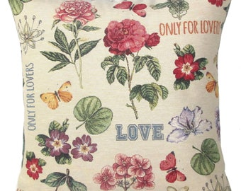 """jacquard woven tapestry cushion throw pillow cover flower power, love, roses, butterflies, 18""""x18"""" - PC-9007"""