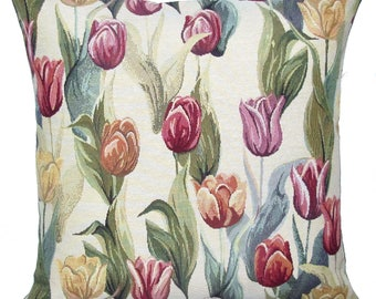 """jacquard woven tapestry cushion throw pillow cover tulips red pink yellow 17""""x17"""" - PC-9009"""