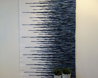 Large Woven wall hanging, Wall tapestry, Fiber tapestry, Art Deco, Boho wall tapestry, Macrame wall hanging, Woven wall decor, Blue woven,