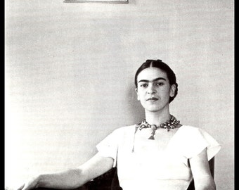 Frida Kahlo 1933 Photograph by Lucienne Bloch, Vintage 1992 Book Page Plate, Frida Kahlo Print, Frida Kahlo Portrait,  Ready To Frame