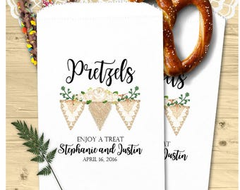 Custom Pretzel Bags (24 BAGS)  - Wedding Pretzel Bags - Wedding Favors - Birthday Favors PZ3a-P16