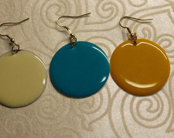 Round Enamel Disc Earrings Choice Of Colors