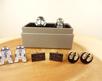 Star Wars Cufflinks, Star Wars Logo, R2 D2 Cufflinks, Galactic Rebel Alliance, Shirt Cuffs, Wedding Cufflinks, Gift for Him, Sci-Fi Present