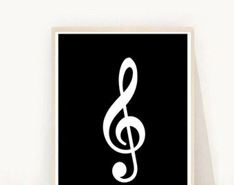 Treble Clef Print, Black and White Art, Printable wall Art, Music Print,  Digital Download, Modern Wall Art