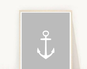Anchor Print, Printable Wall Art, Nautical Nursery, Grey Anchor, Modern Wall Art, Nautical Decor, Instant Download, Nursery Art