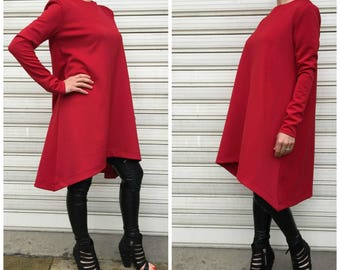 Asymmetrical Tunic Dress /Red  Long Sleeves Top / Loose Dress / Oversize Tunic Top / EXPRESS SHIPPING