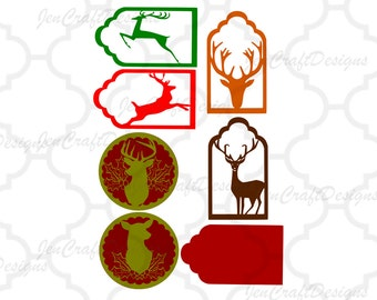 Gift tags svg Christmas Reindeer SVG,EPS Png DXF,digital download files for Silhouette Cricut, Vinyl Cutting Machines