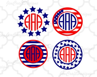 American flag svg, USA monogram frames, 4th of July svg, Memorial Day Cricut Silhouette, Die Cut Machines. Svg, Dxf, Eps, Png, Ai, Jpg